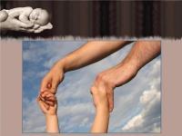 Руки взрослого держат руки ребенка